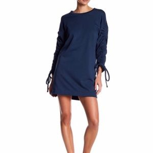 Lush blue Ruched sleeve sweater dress size L